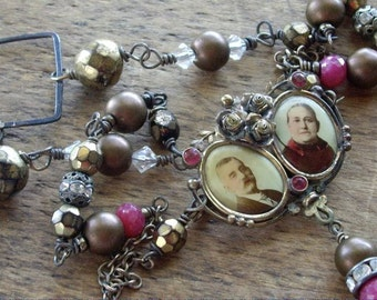 Vintage Assemblage Necklace Victorian Double Photo Pin Brass and Rubies