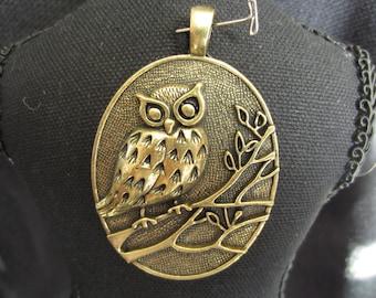 Bronze Extra Large Owl Pendant - Quantity of 4