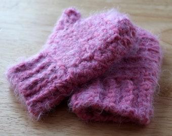 Pink Toddler 12-18 month Crochet Handmade Mittens