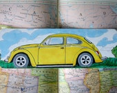 Volkswagon Beetle Bug Bookmark Yellow from Original Drawing, German VW, Once Upon a Time