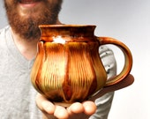 faceted geometric ceramic cup mug modern Beer Stein  in rust and brown dining entertainment