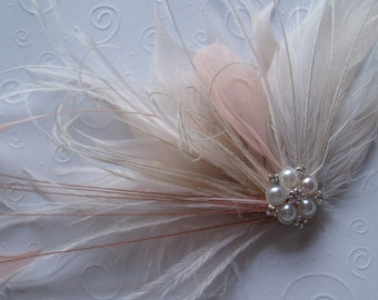 Ivory and Pink Feather Hair Piece Wedding Hair Accessories Fascinator Hair Clip bridal hairpiece