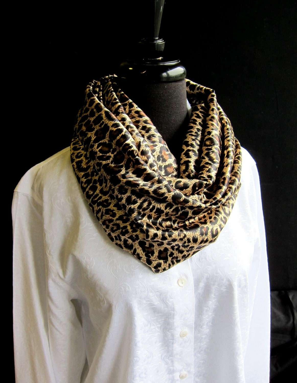 Chic Infinity Scarf In Leopard Charmeuse Animal Print By