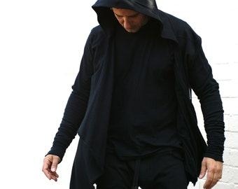 Men's hoodie black certified Organic Cotton. Handmade. Minimalist mens fashion clothing. Goth ninja.