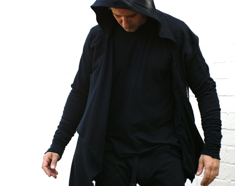 Men's hoodie black certified Organic Cotton. Handmade.