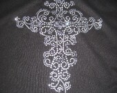 Diy Heat Transfer of  Clear Blinged Scroll Cross Stunning