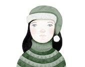 Winter girl green pullover cap snow  - Myriam Print 8 x 11.5