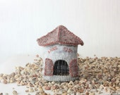 Wool Old Tower,  Felted Miniature House,  soft sculpture, gray
