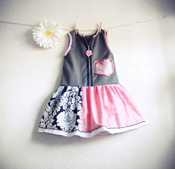 Pink Toddler Dress 5T Gray Jumper Girl's Upcycled Clothing Children's Clothes Eco Friendly Black and White Damask 'TILLY'