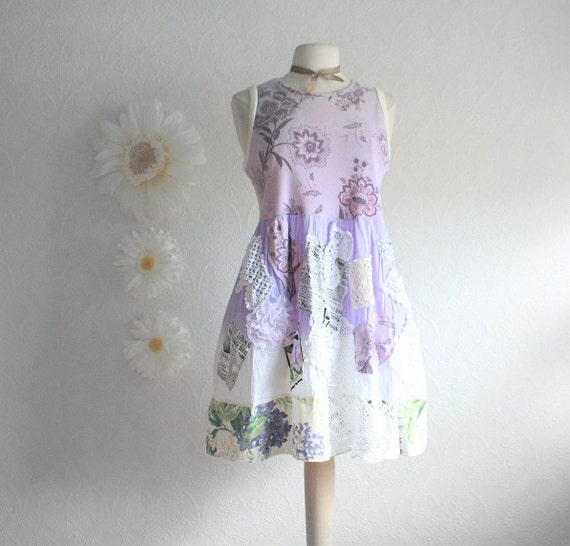 Lilac Purple Shabby Chic Plus Size Top 2X Ladies Upcycled Long Tunic Shirt Vintage Lace Mini Dress Eco Friendly Women's Clothing 'HEATHER'