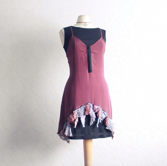 Plum Purple Slip Dress Tattered Lace Little By