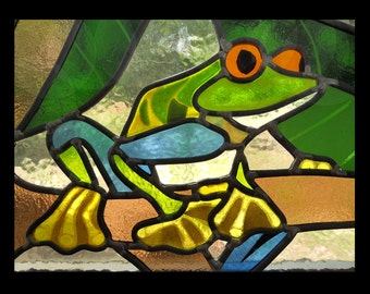 Tropical Frog Stained Glass Window