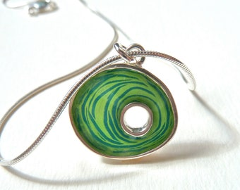 Green nest necklace,sterling silver,resin inlay,green,mixed media,hand made