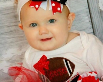 Embroidered Felt Football Heart Layered Boutique Style Hair Bow