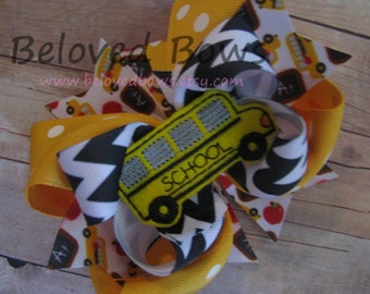 Embroidered Bus Back to School Layered Boutique Style Hair Bow - Back To School Hair Bow - School Hair Bow - Boutique Hair Bow - Yellow