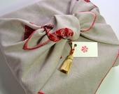furoshiki - reusable fabric gift wrap & tasselled tag - rustic deer