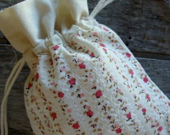 3 Pink Flowered Muslin Drawstring Pouch Bags Lot