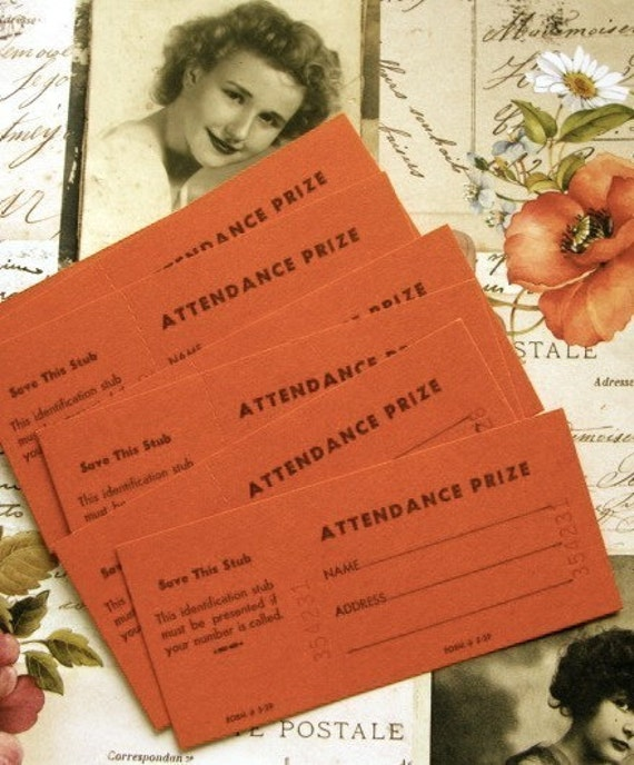 Attendance Prize Tickets Birthday Party Favor Raffle Tickets Perforated Ticket Stubs