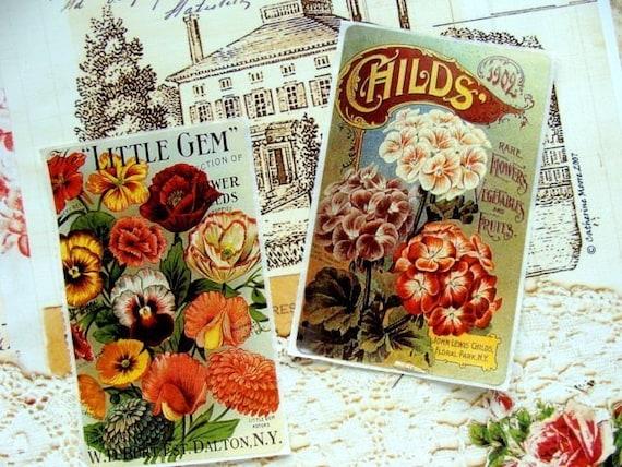 4 Self Adhesive Vintage inspired Seed Packet Stickers