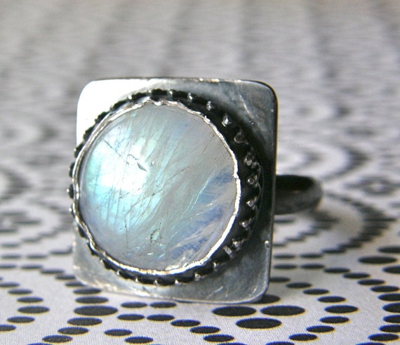 Moonstone Ring, Size 6, Modern Ring, Boho Ring, Sterling Silver Ring, Cocktail Ring, Rustic Ring