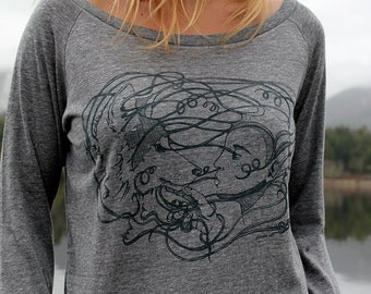Wolf Girl Connection on Grey Slouchy Shirt