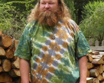 Green Camouflage Bandolier Tie Dye T-Shirt (Made By Hippies Tie Dye In Stock  in Sizes Small to 4XL) (Fruit of the Loom)