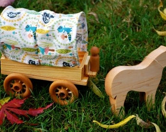 Woodland Print Caravan Wagon with Horse and Driver