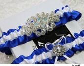 Luxury Wedding Garter Set / Bridal garter set / Keepsake/ Toss/ Garter  - ROYAL  BLUE satin ribbon, beaded rhinestone applique