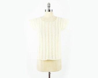 Cream Ivory Crochet Top 70s Crochet Sweater Sheer Crochet Hand Knit Sweater Handknit Sweater Sleeveless Sweater Vest 70s Hippie Boho S Small