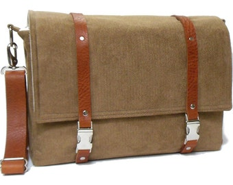 "Larger 13"" laptop messenger bag with leather strap  - camel brown herringbone"