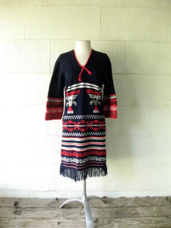 VINTAGE 70s thunderbird fringe native dress