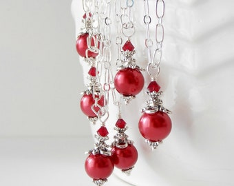 Apple Red Bridesmaid Necklace Pearl Pendant Red Beaded Jewelry Handmade Wedding Jewelry Bridesmaid Sets Red Weddings Pearl Necklace Under 15