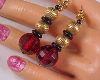 Dramatic Cherry Red Faceted Lucite Beads & Gilt Gold Bead Dangle Post Earrings