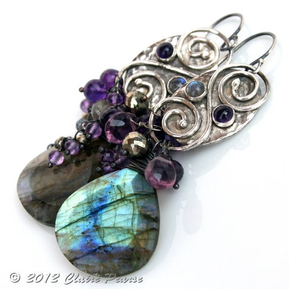 AALIN Earrings - Oxidized Fine and Sterling Silver with Labradorite, Amethyst and Pyrite - Celtic Inspired Statement Earrings