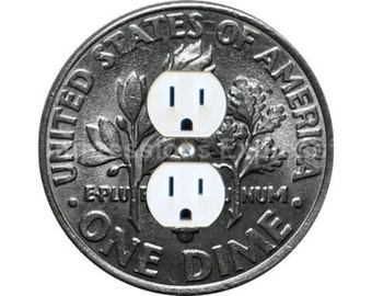 Dime Coin Duplex Outlet Plate Cover