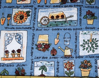 Fat Quarter Gardner Flowers Trees Watering Cans Tools Print Fabric