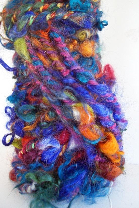 Handspun Art Yarn Poquito Skein  MORROCCAN SOUK  5.8 yds