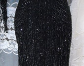 Long Black Evening Gown Vintage Scala Pure Silk Sequin Dress M/L