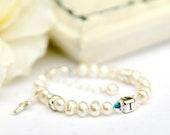 Isabella...monogram baptism christening dedication white freshwater pearl bracelet with a cross charm