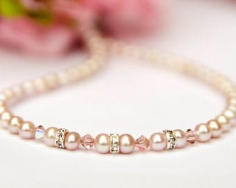 Nicole... toddler girl flower girl pink freshwater pearl special occassion necklace