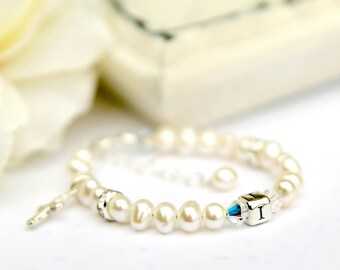 Isabella...monogram baptism christening dedication white freshwater pearl bracelet with a cross charm