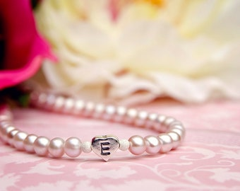 Emily... toddler girl flower girl pink freshwater pearl heart initial special occassion necklace