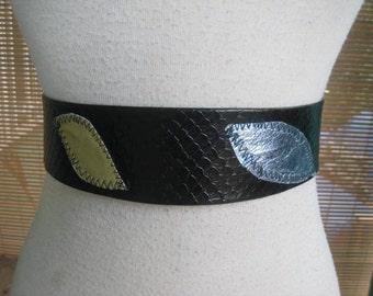 50s Ladies Belt VINYL Printed Snakeskin With Leaves 1950s Belt