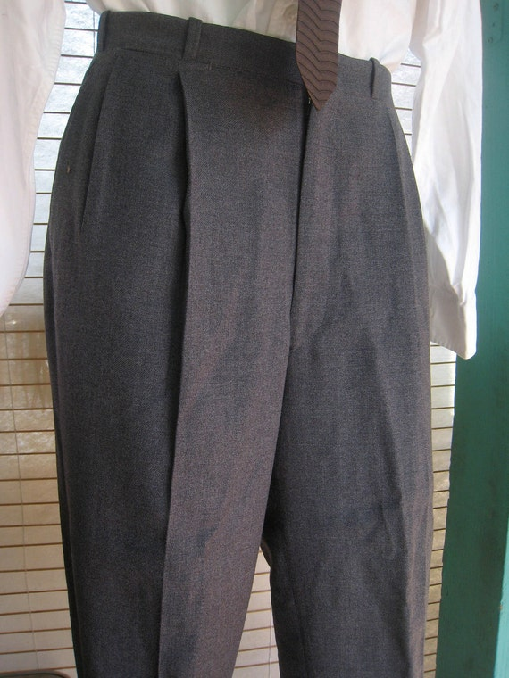 1950s Grey Flannel Pleated Pants