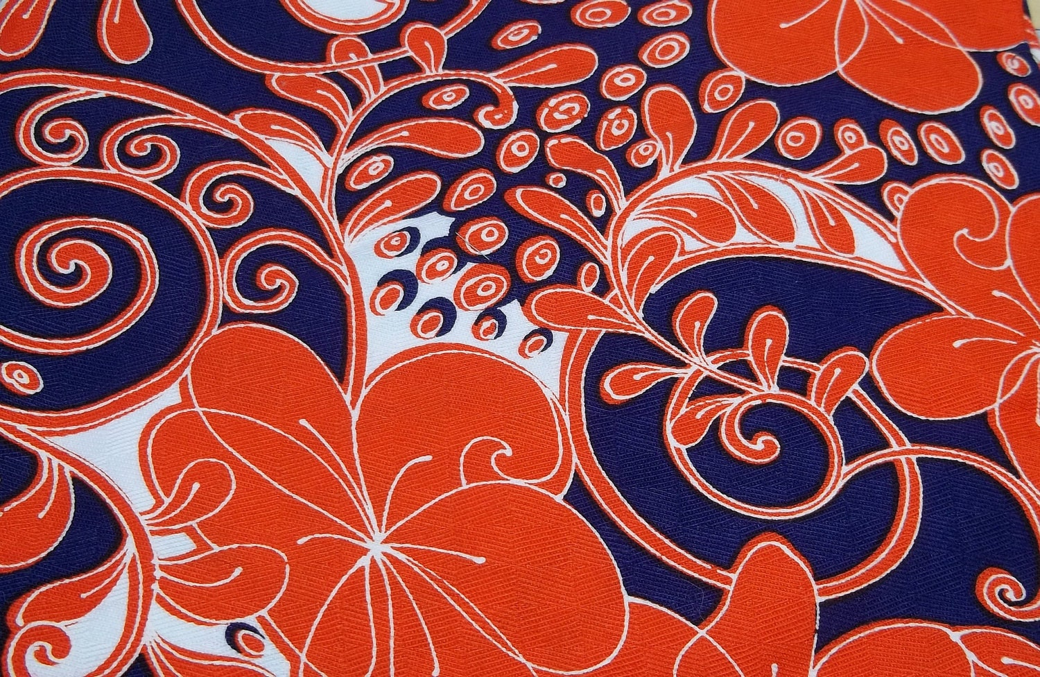 vintage orange blue paisley flower fabric sewing crafting. Black Bedroom Furniture Sets. Home Design Ideas