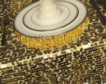 Gold Sequin Tablecloth Wedding Table Overlay - other colors also available.