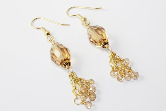 Gold Chain Tassel Earrings with Topaz Colored Glass Beads and Swarovski Gold Crystals