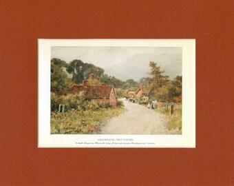 1926 Vintage English Village Chilbolton Print