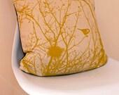 Winter Nest Cushion Cover - 45cm x 45cm in Mustard