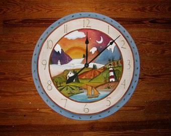 "UNIQUE WALL CLOCK - Clock -  24"" Round - Wall clock - wood clock - Kitchen Clock - Office clock/ Custom Made"